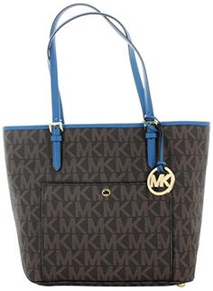 Michael Kors Jet Set Womens Large Monogram Handbag Tote Bag Blue   For more  information efb4a5d64dd41
