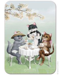 Kitten tea party postikortti. Kortteja voidaan toimittaa maksimissaan 10kpl kirjetoimituksella 2,50€.