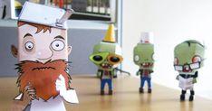 Après les papertoys des zombies, voici Crazy Dave, le personnage du jeu 'Plants Vs Zombies', avec son emblématique casserole sur le crâne.