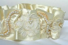 Lace and pearl wedding cuff
