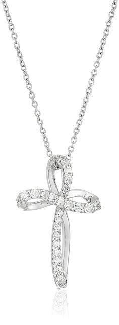 Platinum-Plated Sterling Silver Swarovski Zirconia Whimsical Cross Pendant Necklace, 16' 2' Extender *** Click on the image for additional details.