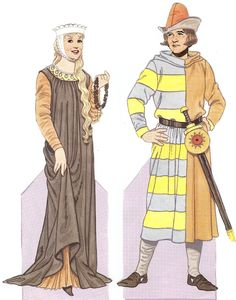 c. 1200    The woman is wearing a black wool surcoat over a pleated chainse, and a porkpie hat over her hair.  This style of a loose, vertical gown was frequent in the earlier Medieval period.
