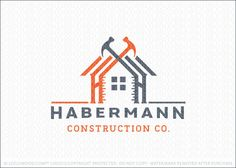 Logo for sale: Handyman construction building logo design featuring a home design created with Wooden frame works, a window in the middle, ruler and the roof of the house designed with two crossing hammers.