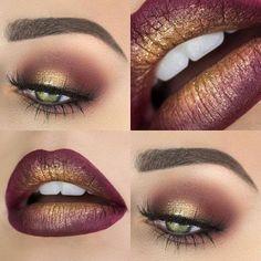 QUE TAL BOKONA E OLHOS QUE COMBINAM?! Toques com pigmento dourado.