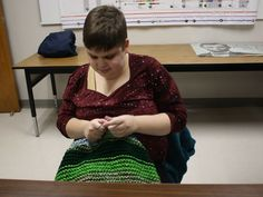 For blind Vestal high school student, knitting is a way to both focus and give back