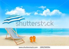 Seaside view with an umbrella, beach chair and a pair of flip-flops. Summer vacation concept background. Vector.  - stock vector