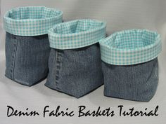 These denim fabric baskets from Culligan Hichens ~ Threading My Way are a great way to old jeans!These denim fabric baskets from Culligan Hichens ~ Threading My Way are a great way to old jeans! Artisanats Denim, Denim Fabric, Denim Quilts, Denim Purse, Sewing Hacks, Sewing Tutorials, Sewing Patterns, Quilting Patterns, Apron Patterns