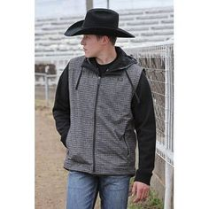 Cinch Men's Grey Plaid Vest