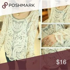 Ivory Lace top Like New, size M fits S, M or L Tops Blouses