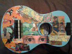 Decoupage ukulele art Ukulele Art, World Domination, Recording Studio, Pyrography, Pretty Pictures, Decoupage, Music Instruments, Graphic Design, Canvas