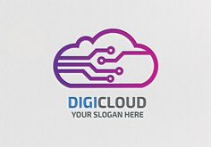 Digi Cloud logo vector template for download. Print ready and editable design