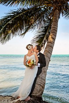 Love Under a Coconut Tree in San Pedro #Belize. #Wedding #Photograhy #Bride