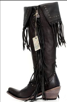 Liberty Black Tall Fringe Boots- Black – Classy Cowgirl Co.