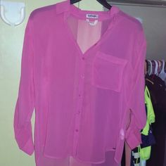 Cute Fuchsia chiffon top Brand new hot pink see throu chiffon top never worn the wire from the tag is still on the tag (pic 4) great for laying Garage Tops