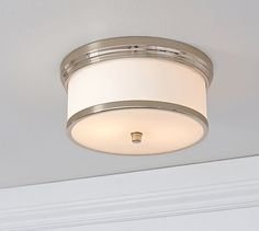 Hayden Flushmount, Polished Nickel finish At Pottery Barn - Lighting - Flushmounts Hallway Lighting, Bathroom Lighting, House Lighting, Barn Lighting, Lighting Ideas, Closet Lighting, Luxury Lighting, Interior Lighting, Outdoor Lighting