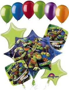 """Included in this bouquet: 11 Balloons Total 1 – 35"""" """"Teenage Mutant Ninja Turtles"""" Starburst Shape Balloon 2 – 18"""" """"Happy Birthday"""" Square Balloons 2 – 18"""" Lime Green Star Balloons 6 - 12"""" Mixed Latex"""