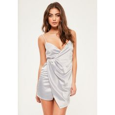 Missguided Petite Exclusive Grey Satin Wrap Mini Dress ($63) ❤ liked on Polyvore featuring dresses, silver, satin mini dress, short satin dress, grey wrap dress, petite dresses and mini dress
