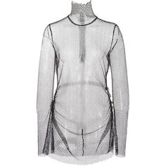 Ellery Olympic Funnel Neck Top (5.195 RON) ❤ liked on Polyvore featuring tops, dresses, turtle neck top, mesh top, white turtleneck top, white long sleeve top and white mesh top