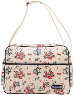 Inked Boutique - Smile Now Diaper Bag Cream Retro Kewpie Dolls Tattoo Flash Print Hearts Bows Rockabilly http://www.inkedboutique.com