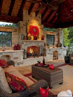 Outdoor fireplace. Saving my pennies to put this in!