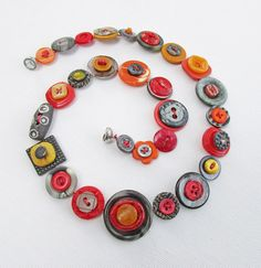 Button Necklace, Gray and Orange, Boho Chic, Button Jewelry, Vintage Buttons, Statement Necklace, Upcycled Jewelry, Asymmetrical Necklace
