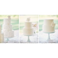 What could possibly be better than a beautiful wedding cake?  Why three beautiful wedding cakes, of course!  These delicious creations by the amazing Rhonda of Confections on the Coast contain the flavors Chocolate Peanut Butter, French Vanilla, German Chocolate, Grand Marnier, and Carrot Cake. #weddingcake #processingnow