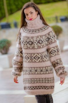 Tiffy Mohair Hand Knitted T- neck Icelandic Sweater Dress Fluffy    M L XL T313 picclick.com