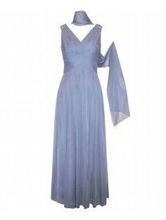 Plus Size Bright Azure Evening Dress