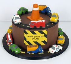 construction birthday cake, I like this but with just actual construction vehicles