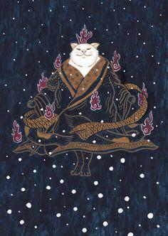 暗い中、遠くから見ても分からない。もっと近くもっと近く。 #art #illustration #japan #cat #Watercolor #猫 #イラスト #日本画 #アート #xmas Illustration, Cards, Movies, Movie Posters, Films, Film Poster, Cinema, Illustrations, Maps