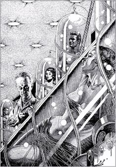 Virgil Finlay - The Evening Star by David H Keller, Fantastic Story, Winter 1952 Science Fiction Art, Pulp Fiction, Comic Manga, Scratchboard, Black And White Illustration, Pulp Art, Retro Futurism, Geek Culture, Sci Fi Art
