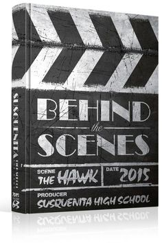 """Yearbook Cover - Unused - """"Behind The Scenes"""" Theme - Movie, Hollywood, Slate, Theater, Theatre, Film, Reel, Entertainment Industry, Clapper, Chalk:"""