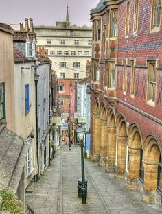 Christmas Steps, Bristol.........just beautiful.  Look at all those arches and the narrow street.  How old might these buildings be?
