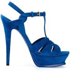 Saint Laurent 'Tribute' sandals (7.200 DKK) ❤ liked on Polyvore featuring shoes, sandals, heels, blue, platform sandals, t strap sandals, blue platform sandals, heels stilettos e strappy sandals