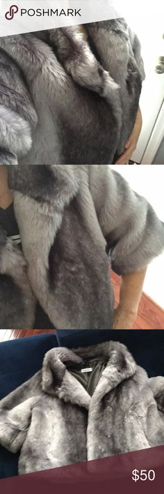 Rabbit fur jacket - pristine Calvin Klein Faux Fur fancy jacket. Amazingly soft and pristine and glorious for a night out! Calvin Klein Jackets & Coats Capes