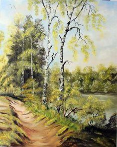 A folyó mellett. olaj, farost, 50x40