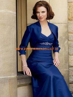 Elegantes Mutterkleid aus Stretchsatin mit Jäckchen und Kristall