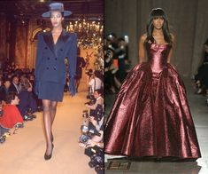 At the Yves Saint Laurent Spring/Summer 1988 presentation in 1987, and closing the Zac Posen Fall/Winter 2015 show earlier this year. Her now decades-long career hit octane levels in 1987 (when she was just 17), but like good friend Kate Moss, Campbell is one of the few original supermodels who still makes cameo appearances fairly frequently. Her latest: Closing Zac Posen's latest presentation in a show-stopping burgundy gown.   - HarpersBAZAAR.com