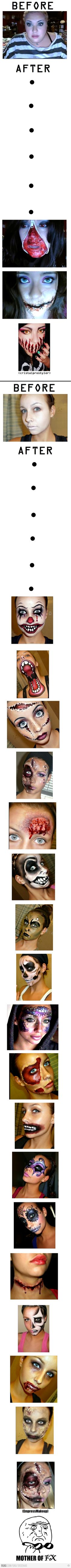 Halloween makeup {i really don't like these super lllloooonnngg posts, but...WOW..} http://hubz.info/70/beautiful-backless-dresses-ideas-for-a-sexy-look