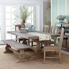 So wish I had gone more rustic in my dining room for a more Tuscan feel.  Regret my much more expensive dining room table purchase.  May replace at some point with something like this.