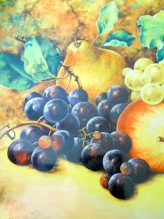 Daher Decorative Tin Square Tray Fruit Grapes Pear Peaches England Fall Decor
