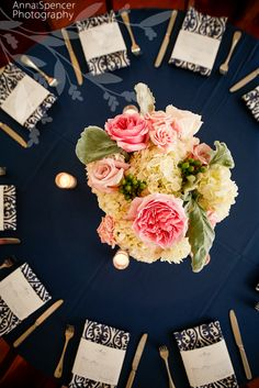 Anna and Spencer Photography, Wedding Reception Table Floral Arrangement, Unique Floral Expressions Atlanta. Peonies, Roses, Hydrangeas. Navy blue table linens.