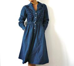French Vintage 80s Denim Buttons Down Midi Dress by bOmode on Etsy