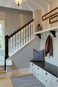 Main Area and Guest Room- Benjamin Moore Stonington Gray Contemporary Interior Design, Luxury Interior Design, Interior Paint, Interior Decorating, Benjamin Moore Stonington Gray, Painted Banister, Diy Home, Home Decor, House Painting