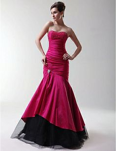 Trumpet/ Mermaid Strapless Sweetheart Floor-length Taffeta Prom/ Evening Dress