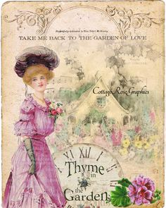 Thyme in the Garden LARGE digital image by CottageRoseGraphics, $3.75