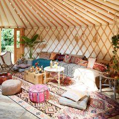 Inside a boho yurt