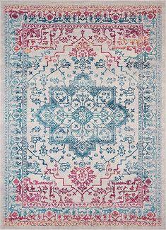"AmazonSmile: Monde Blue Vintage Tribal Medallion Short Pile Kilim-Style Modern 8x11 (7'10"" x 9'10"") Area Rug Antique Weathered Oriental Multicolor Pattern: Home & Kitchen $59-$120"