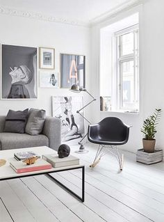 black eames rocking chair in a cool living room with lots of posters Home Living Room, Living Room Designs, Living Room Decor, Living Spaces, Decor Room, Apartment Living, Small Living, Modern Living, Decoration Inspiration