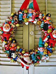 Woolworth's Tribute Vintage Christmas Wreath with LOTS of Vintage Dime Store Ornaments Great idea for all those adorable vintage ornaments I keep nabbing for a quarter at goodwill! Retro Christmas Decorations, Vintage Christmas Ornaments, Vintage Holiday, Wooden Ornaments, Victorian Christmas, Vintage Santas, Creepy Vintage, Christmas Ornament Wreath, Whimsical Christmas